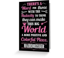 Big colorful world with hairdresser Greeting Card