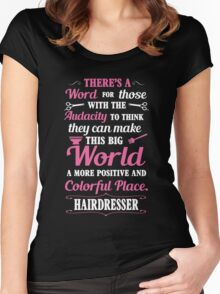 Big colorful world with hairdresser Women's Fitted Scoop T-Shirt