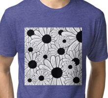 Daisies - Black and White Tri-blend T-Shirt