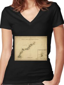 American Revolutionary War Era Maps 1750-1786 894 Sketch of the road from Black Horse to Crosswick Sketch of Allen's Town Women's Fitted V-Neck T-Shirt
