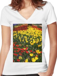 Yellow Tulip Road Women's Fitted V-Neck T-Shirt