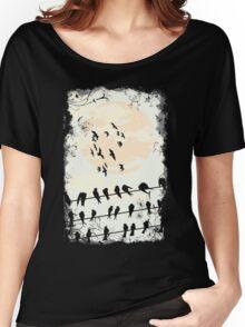 Birds Black Women's Relaxed Fit T-Shirt