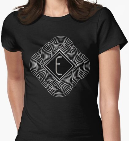 1920s Jazz Deco Swing Monogram black & silver letter E Womens Fitted T-Shirt