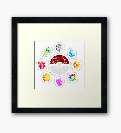 Broken Kanto Badges - Pokemon Framed Print