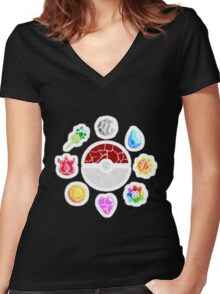Broken Kanto Badges - Pokemon Women's Fitted V-Neck T-Shirt
