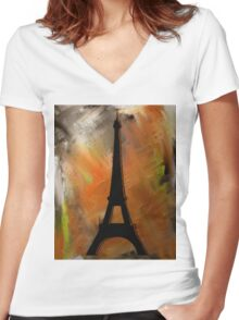 Eiffel Tower Rustic Women's Fitted V-Neck T-Shirt