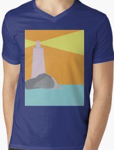 Lighthouse Geometric Abstract Mens V-Neck T-Shirt