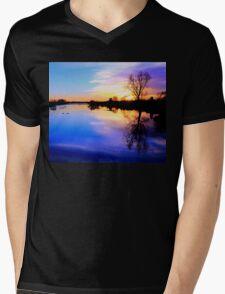 River in flood at sunset Mens V-Neck T-Shirt