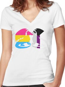 Pan Demisexual Pride Dragons Women's Fitted V-Neck T-Shirt