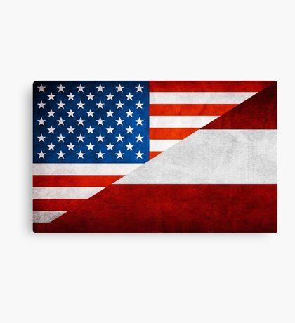 Half Austrian Half American Flag Canvas Print