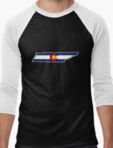 Tennessee outline Colorado flag Men's Baseball ¾ T-Shirt