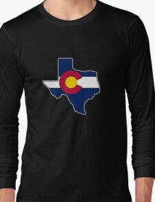 Texas outline Colorado flag Long Sleeve T-Shirt