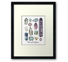 Gemstones and Minerals art print | Watercolor gemstones and crystals | Hand painted  semi precious stones | geology decor Printable wall art Framed Print