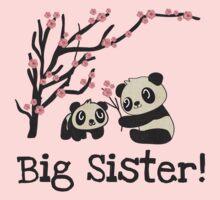 Panda Bears Big Sister One Piece - Short Sleeve