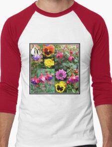 Summer Flowers Collage Men's Baseball ¾ T-Shirt