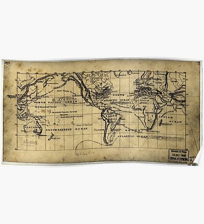 053  Map of the world on the Mercator projection Poster