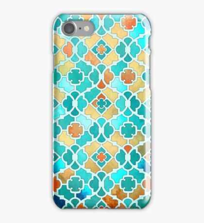 Arabesque Geometrical Pattern - Kingfisher Blue and Gold iPhone Case/Skin