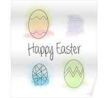 Watercolour Easter Eggs Poster