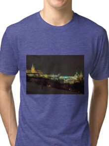Fairytale prague castle at night Tri-blend T-Shirt