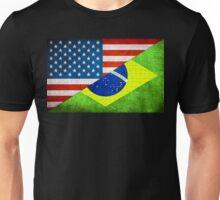 Half American Half Brazilian Flag Unisex T-Shirt