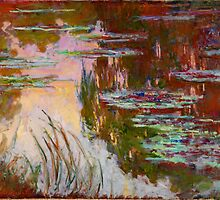 Water-Lilies, Setting Sun Monet Fine Art by Vicky Brago-Mitchell