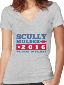 Scully & Mulder Campaign 2016 Women's Fitted V-Neck T-Shirt