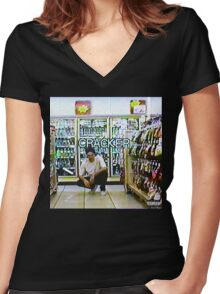 Bones- Cracker Women's Fitted V-Neck T-Shirt