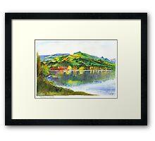 Evening on Akaroa Harbour, New Zealand Framed Print