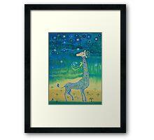 Funny giraffe meet aliens.Funny communication illustration. Kids style hand drawn illustration. Framed Print