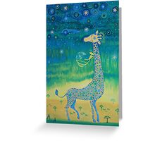 Funny giraffe meet aliens.Funny communication illustration. Kids style hand drawn illustration. Greeting Card