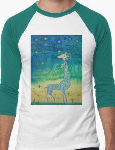 Funny giraffe meet aliens.Funny communication illustration. Kids style hand drawn illustration. Men's Baseball ¾ T-Shirt