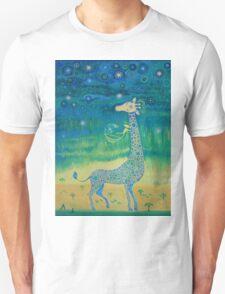 Funny giraffe meet aliens.Funny communication illustration. Kids style hand drawn illustration. Unisex T-Shirt