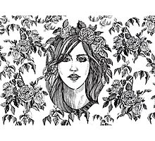 Beautiful woman with roses wreath. Black and white hand drawn illustration. Photographic Print