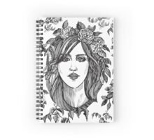 Beautiful woman with roses wreath. Black and white hand drawn illustration. Spiral Notebook