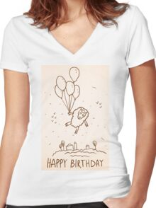 Funny sheep with balloons Women's Fitted V-Neck T-Shirt