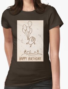Funny sheep with balloons Womens Fitted T-Shirt