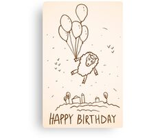 Funny sheep with balloons Canvas Print