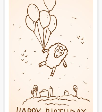 Funny sheep with balloons Sticker