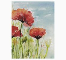 Red Poppy Watercolor One Piece - Short Sleeve