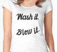 Hairdresser: Wash it. cut it. blow it. style it. Women's Fitted Scoop T-Shirt