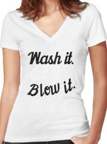 Hairdresser: Wash it. cut it. blow it. style it. Women's Fitted V-Neck T-Shirt