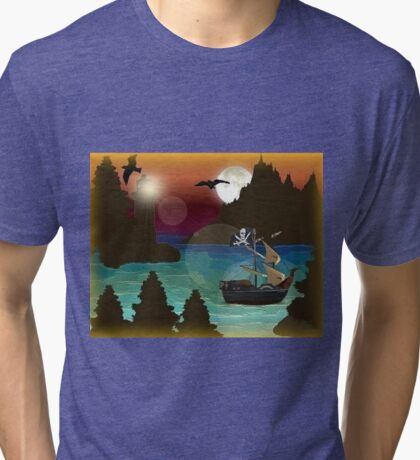 Pirate Ship Moonlight Voyage  Tri-blend T-Shirt