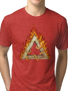 Divine Triangle on Flames Tri-blend T-Shirt