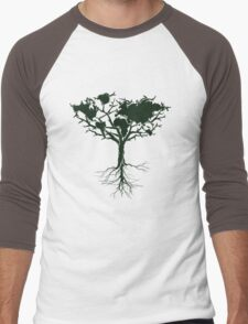 Earth tree *dark green edition Men's Baseball ¾ T-Shirt