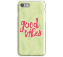 Good Vibes // Retro Vintage Green Pineapple Typography Poster and Pattern iPhone Case/Skin