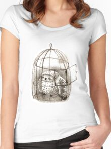 Great Grey Owl Sleeping In a Birdcage Women's Fitted Scoop T-Shirt