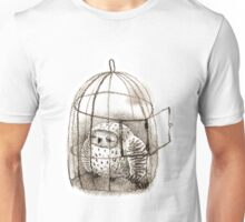 Great Grey Owl Sleeping In a Birdcage Unisex T-Shirt
