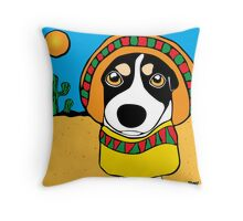 Fox Terrier in Poncho Throw Pillow