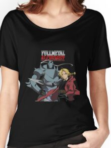Edward Elric Alphonse Elric Fullmetal Alchemist Brotherhood Anime Women's Relaxed Fit T-Shirt