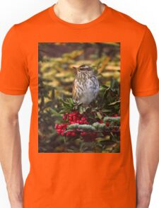 Redwing and Red Berries Unisex T-Shirt